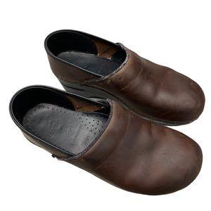 Dansko brown leather mule clog shoes size 10.5